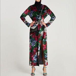 NWT ZARA COLLECTION Velvet kimono wrap dress